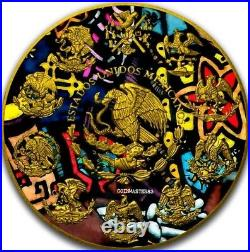2018 2 Oz Silver Mexican DAY OF THE DEAD LIBERTAD Coin WITH 24K GOLD, COA #1