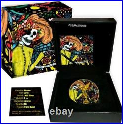 2018 Mexican DAY OF THE DEAD LIBERTAD 2 Oz Silver Coin, 24K GOLD. SECOND COIN