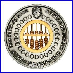 2019 $2 2oz 99.99% Silver Antiqued Coin Golden Abacus Insert SOLD OUT AT MINT