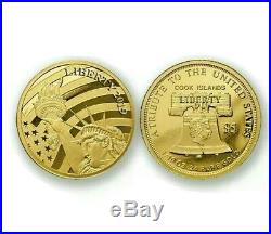 2019 Cook Islands $5 Statue of Liberty Gold Historical Proof Collectible Coin