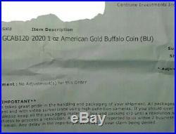 2020 1 oz Gold American Buffalo $50 BU Coin SKU#GCAB120