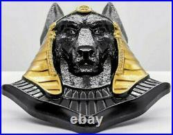 2020 3 Oz Silver $20 Palau ANUBIS Egyptian Art Shaped Gilded Coin