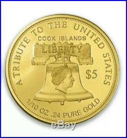 2020 $5 Liberty Peace Strength 1/10 oz. 24 Pure Gold Collectible Coin #2