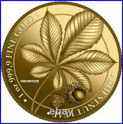 2021 1 Oz PROOF GOLD 100 Mark Germany CHESTNUT LEAF Germania Mint Series Coin