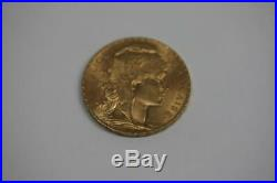 22K Solid Gold 1910 France Coin 20 Francs French Rooster AU Rare Collectible