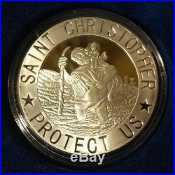 24k GOLD PLATED COIN ST CHRISTOPHER PATRON SAINT TRAVELERS JESUS CHRIST CHILD