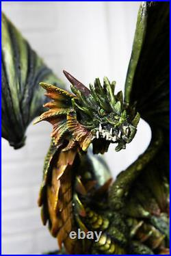 26.25 Inch Large Dragon Protecting Gold Coin Treasure Statue Figurine