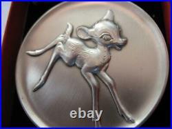 2.3 Oz Bambi Disney Kirk Collection 1974 Relief. 925 Silver Coin Very Rare +gold