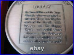 2.3 Oz Dopey Disney Kirk Collection 1974 Relief. 925 Silver Coin Very Rare +gold