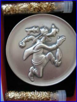 2.3 Oz Goofy Disney Kirk Collection 1974 Relief. 925 Silver Coin Very Rare +gold
