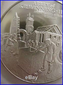 7/8- Oz Kilwinning Abbey Freemason Brotherhood Masonic Coin Silver. 925 + Gold