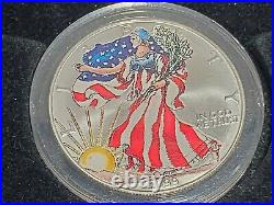 99 GOLD+PLAT+SILVER SET 1/10 oz $5 Eagles Colorized+1oz+COLLECT