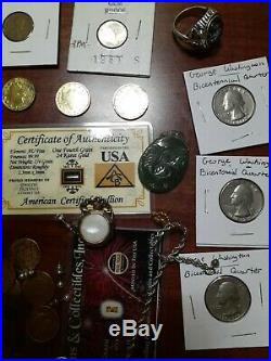 Antique Coin Junk Drawer Lot With real Gold And Silver, Ancient Coins, jewelry