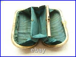 Antique Faux Tortoise Shell Box Coin Purse The Gold Pique Work Early 19th