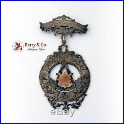 Antique Masonic Medal Coin Silver 10 K Gold Fidelity Lodge 39 Austin Minn 1870