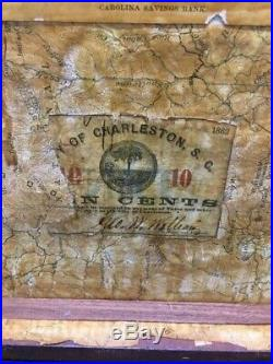 Antique Pre CIVIL War Charleston, S. C. Identified Document Box With Gold Coin