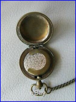 Antique Victorian Gold T Chatelaine Coin Holder Slide Mirror Aide Memoire Pencil