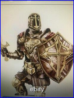 Armor of God Bronze Sculpture with24K Gold-Plated Challenge Coin Bradford Exchange