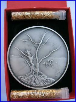 Asher From The 12 Tribes Of Israel Salvador Dali Pure Silver 3-oz. Coin+gold