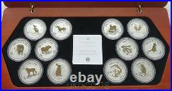 Australia 1999-2010 Lunar I Full 12-Coin Set 1 Oz Silver Gilded Year Collection