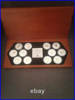 Australian lunar silver coin series. 12 year collection. Gilded edition