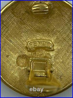 Authentic Fendi Zodiac Collection 93 Sagittarius Archer Dome Coin Earrings