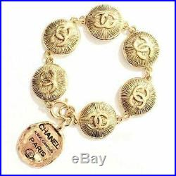 CHANEL BRACELET Gold Coin CC Logo Chain length 7.87 inch Vintage