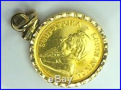 COLLECTIBLE 1983 1/10oz KRUGERRAND gold coin REED bezel pendant. 4.6gm