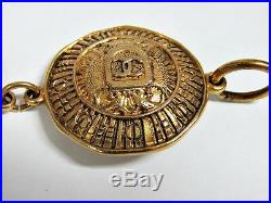 Chanel Vintage 90's Medallion Charm Chain Bracelet Gold Plated Coin Collectible