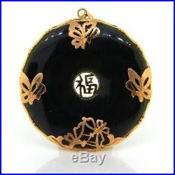 Chinese Black Jade & 14k Gold Good Luck & Butterfly Necklace Coin Pendant