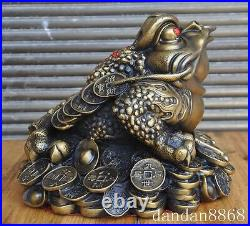 Chinese fengshui brass wealth money coin yuanbao gold toad bufo frog statue