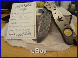 Chris Reeve Knives Large Regular Sebenza. Solid Canadian Gold Coin. CRK. Damascu