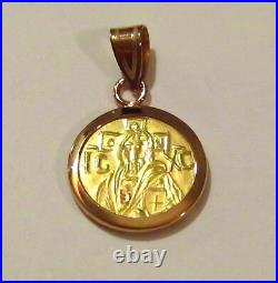 Christ first Byzantine coin icon Solid 22 Karat Gold Pendant Plain-back