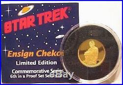 Classic Star Trek Chekov 1/4 Oz Pure Gold Proof Coin 1989 UNUSED SEALED