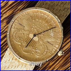 Corum AUTOMATIC Coin 1904 $20 Dollars Full Gold Watch / HERITAGE COLLECTION SET