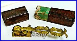 Crown Sovereign Coin Scales Gold Lustre Victorian Antique Brass Leather Box Nice