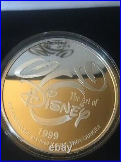 DISNEY VILLIANS COIN 5 Troy Oz. 999 Fine Silver 24k Gold Ltd # 0101/1000