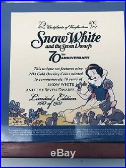 Disney LE SNOW WHITE 24Kt Gold Overlay Coin Set 70th Anniversary Set