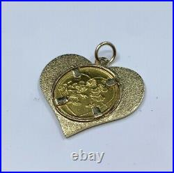 Disney Mickey & Minnie Mouse Yours Forever 1/20oz Gold Coin Set In 14K Pendant