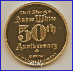 Disney Rarities Mint 1 oz. 999 Gold DOPEY from Snow Whites 50th Anniversary
