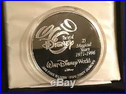 Disney World 25th Anniversary 5 Troy Ounce Silver Coin with24kt Gold LE