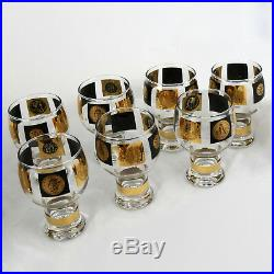 Extensive Set of 22-Karat Gold and Black Coin Barware and Glasses by Cera MCM