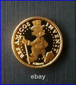 Extremely Rare! Walt Disney Scrooge McDuck 18K Gold ING Bank Lucky 10 Cent Coin