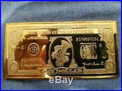 Extremely Rare! Walt Disney Scrooge McDuck $1 Duckburg Gold Banknote LE Coin Bar