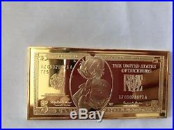 Extremely Rare! Walt Disney Scrooge McDuck $5 Duckburg Gold Banknote LE Bar Coin