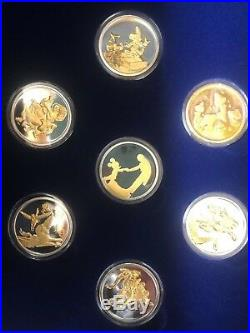 Fantasia 50th Anniversary Match Serial # Set 7 Piece Silver With Gold 22kt Overl