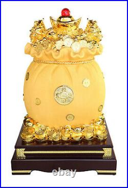 Feng Shui Big Golden Money Bag Full of Coins and Ingots with Money Frogs