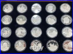 Franklin Mint The Millenia 1 OZ Silver Coin Collection 20 Total Ounces