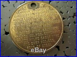 GOLDEN GATE BRIDGE Original Suspender Cable- + METAL Base + MEDALLION / Coin