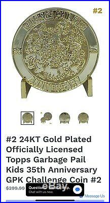 Garbage Pail Kids Challenge Coins #2 & #3 24k Gold #/35